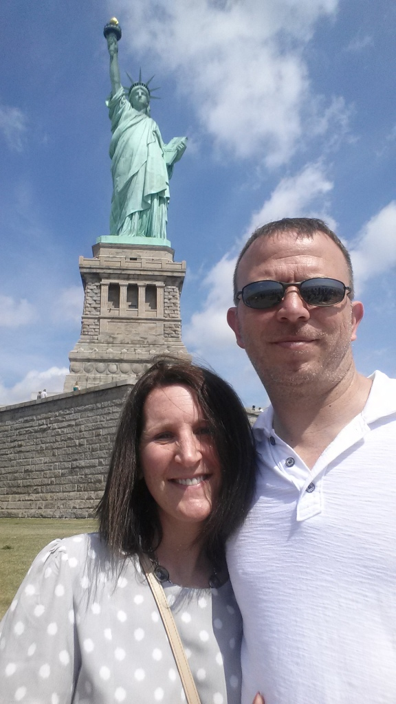 5-12-2015 - Pam & Dewayne at the Statue of Liberty