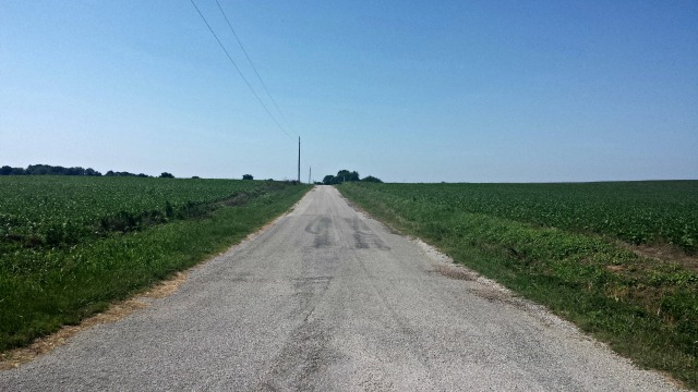 Running the country roads.  Just me and the soybeans.